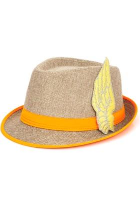 Bonalodi Neon Turuncu Melek Kanatlı Fötr Şapka