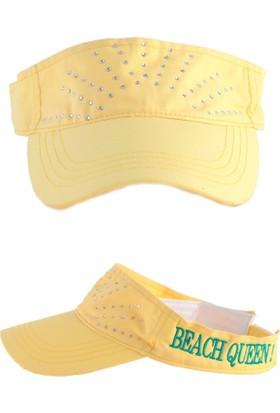 Bonalodi Sarı Beach Queen Taşlı Kep Şapka