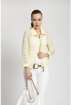 Serpil Dantel Üzeri Deri Şeritli Sarı Ceket