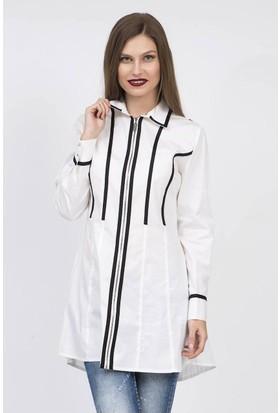 Serpil Çubuk Şerit Detaylı Beyaz Tunik