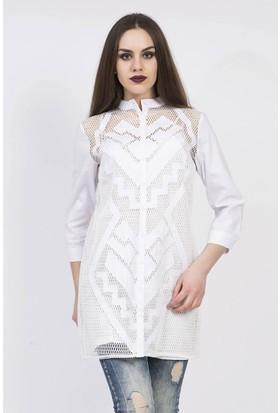 Serpil File Üzeri Geometrik Desenli Beyaz Tunik