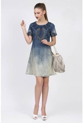 Serpil İşleme Detaylı Mavi Elbise