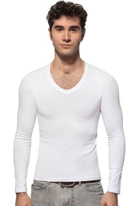 Özkan 274 Uzun Kol V Yaka Likralı T-Shirt
