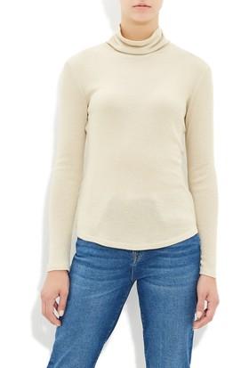 Mavi Altın Rengi Boğazlı Sweatshirt