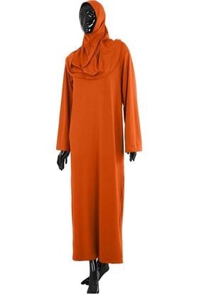 Vavmol Tek Parça Pratik Düz Turuncu Namaz Elbisesi