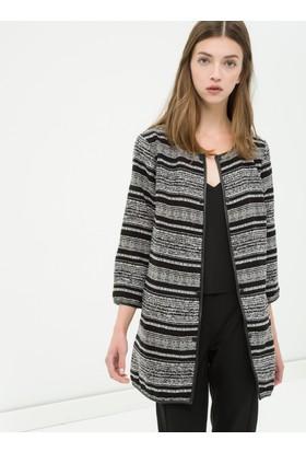 Koton Kadın Çizgili Ceket Siyah