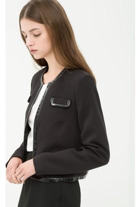 Koton Kadın Desenli Ceket Siyah