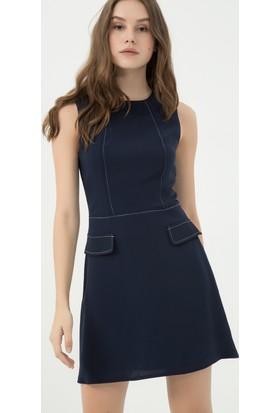 Koton Kadın Cep Detaylı Elbise Lacivert