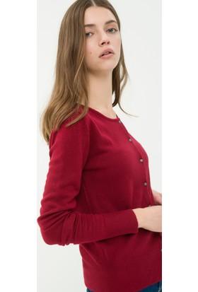 Koton Kadın Düğme Detaylı Hırka Kırmızı