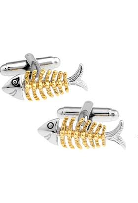 Modakedi Balık Kılçığı Altın Dore Gümüş Erkek Kol Düğmesi