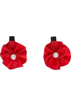 Soobe İkili Çiçek Pens Toka Kırmızı
