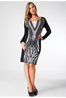 9dafe2e23ddeb Dodona Özel Tasarım Taşlı Şık Gece Elbisesi Siyah - Beyaz ...