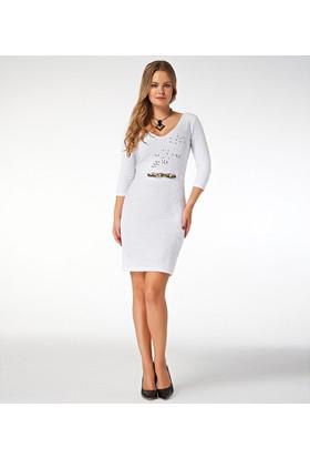 Dodona Taşlı Beyaz Elbise Beyaz