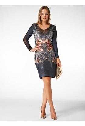 Dodona Taşlı Özel Tasarım Gece Elbisesi Renkli