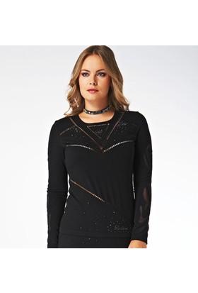 Dodona Tasarım Siyah Abiye Bluz Triko Siyah
