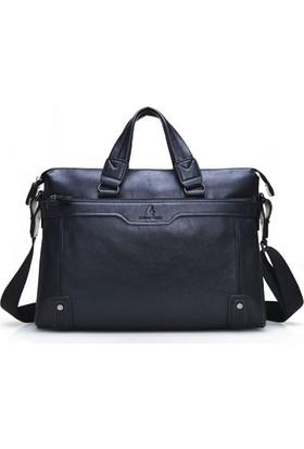 Dıoulaorentou Moda 2016 Men Leather Vintage Briefcase Siyah