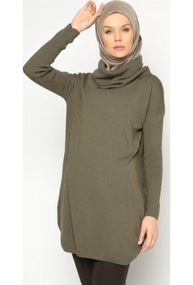 Boğazlı Yaka Tunik - Haki - Seyhan Fashion