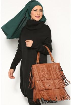 Boğazlı Yaka Tunik - Siyah - Seyhan Fashion