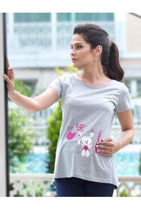 Mel Bee Tavşan Baskılı Lohusa T-Shirt Gri Mb4507