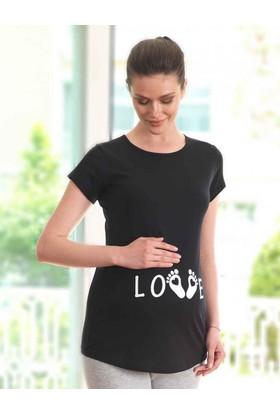 Mel Bee Love Baskılı Lohusa T-Shirt Siyah Mb4513