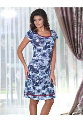 Mel Bee Kısa Kollu Gül Desenli Elbise MBP22243-1