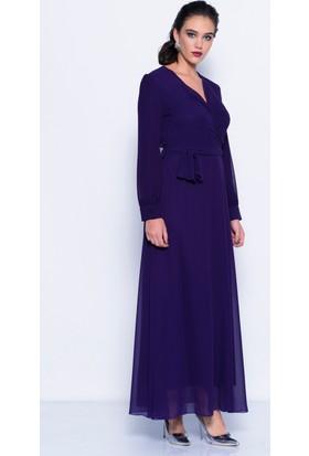 İroni Uzun Mor Şifon Elbise