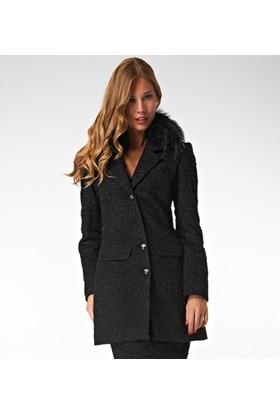 Dodona Tasarım Simli Kürklü Siyah Ceket