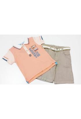 Kts Baby 3771 İşlemeli T-Shirt Kemerli Keten Kapri