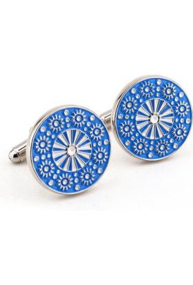 Solfera Kabartma Çiçek Desenli Mavi Renk Kol Düğmesi Cx117