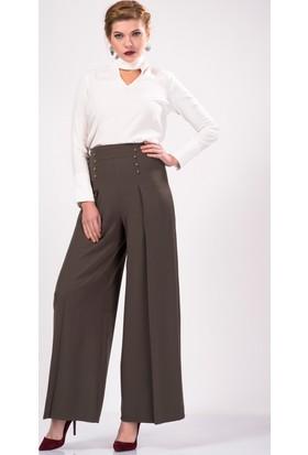 İroni Ön Düğmeli Pileli Bol Haki Kumaş Pantolon