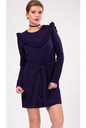 İroni Yaka Fırfır Detaylı Uzun Kollu Mini Elbise