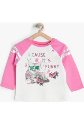 Koton Kids Kız Çocuk Baskılı Sweatshirt Pembe
