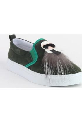 Markazen Püsküllü Maskot Keten Spor Ayakkabı - Yeşil