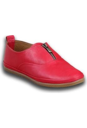 Markazen Fermuarlı Bayan Spor Ayakkabı - Kırmızı