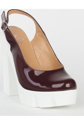 Markazen Kalın Topuklu Ayakkabı Rugan - Bordo