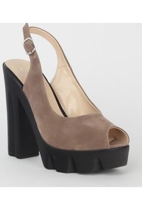 Markazen Kalın Topuklu Süet Ayakkabı - Dore
