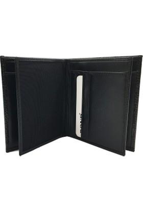 Bond 550-356 Kroko Siyah Gerçek Deri Erkek Cüzdanı