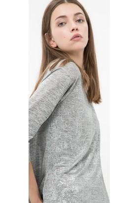 Koton Kadın Yırtmaç Detaylı T-Shirt Gümüş