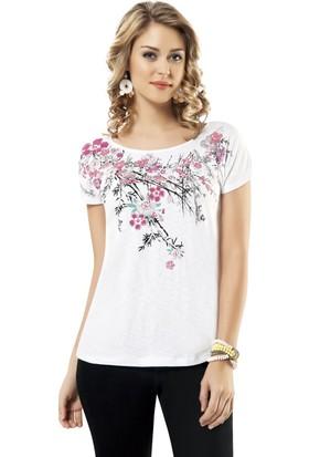 Özkan Bayan Çiçek Baskılı Bluz 20505 Beyaz