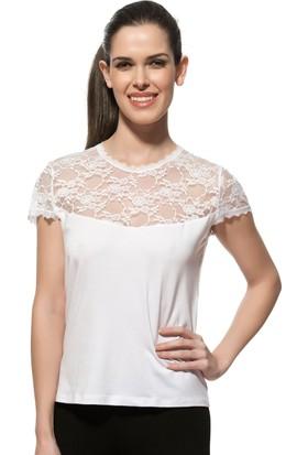 Özkan Bayan Dantelli Mini Kollu Bluz 7371 Beyaz