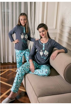 Yeni İnci Anne ve Kız Pijama Takım 1028