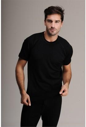 Elif Çamaşır Hasyün Erkek Yün Kısa Kol İçlik Fanila Siyah