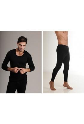 Elif Çamaşır Hasyün Erkek Yün Uzun Kol İçlik Takım Siyah