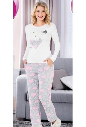 Sendy Sendy Kalpli Kedicik Desenli Pembe Bayan Polar Pijama Takımı