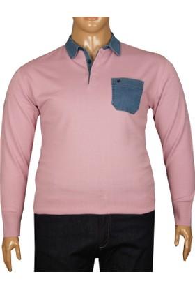 Fala Jeans Büyük Beden Polo Kot Yaka Kazak Pembe