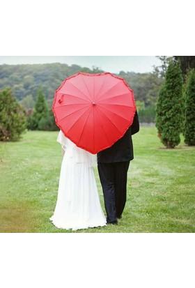 Gelin Şemsiyesi Kalp Şeklinde Gelinlik Şemsiyesi fuşya renk