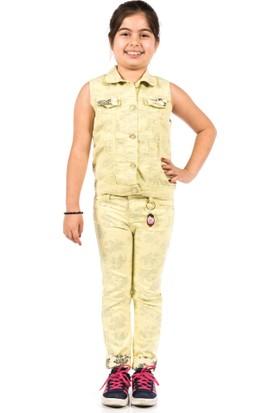 Ottomama Kız Tersi Baskılı Yelek Sarı Renk