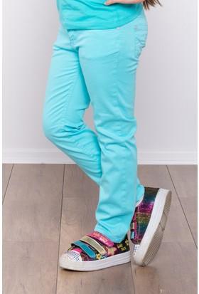 Ottomama Kız Çocuk Keten Pantolon Açık Mavi Renk