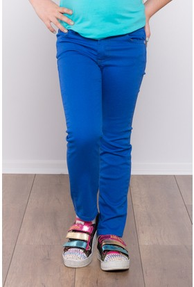 Ottomama Kız Çocuk Keten Pantolon Saks Renk