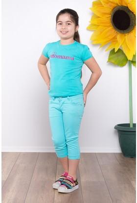 Ottomama Kız Çocuk Keten Kapri Açık Mavi Renk